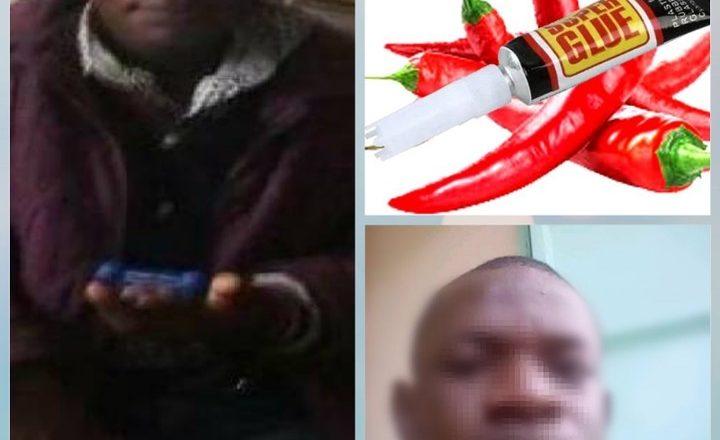 Hotuna: 'Yan Sanda A kasar Kenya sun kama Mutumin da yayi amfani da Gam ya rufe Al'aurar Matarsa