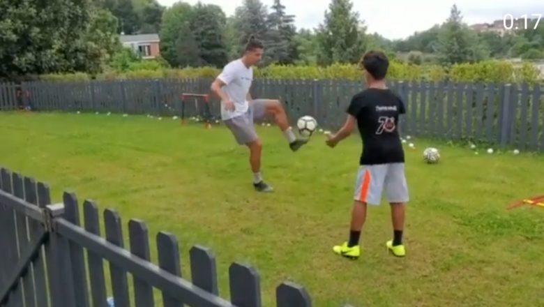 Video: Barewa ba za tai gudu ba danta yayi rarrafe:Kalli Cristiano Ronaldo na buga kwallo da dansa