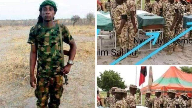 Hoton daya daga cikin Sojojin da Boko Haram ta kashe a harin da ta kaiwa Gwamna Zulum